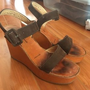 Robert Clergerie Brown Suede & Tan Wedge Sandals